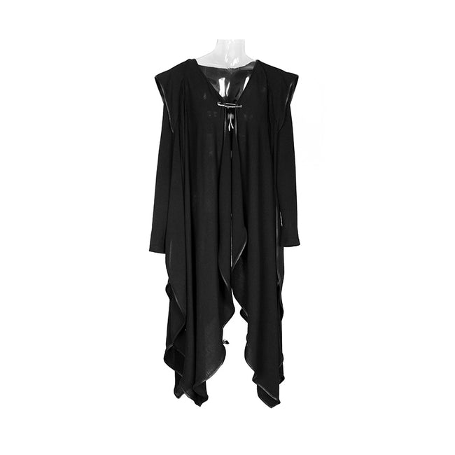 Lovely Witch Gown Irregular Gothic Trench Coat With Hood