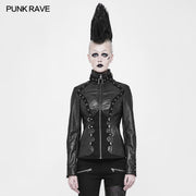 Imitation Suede Leather Short Metal Punk Jacket With Stand Collar