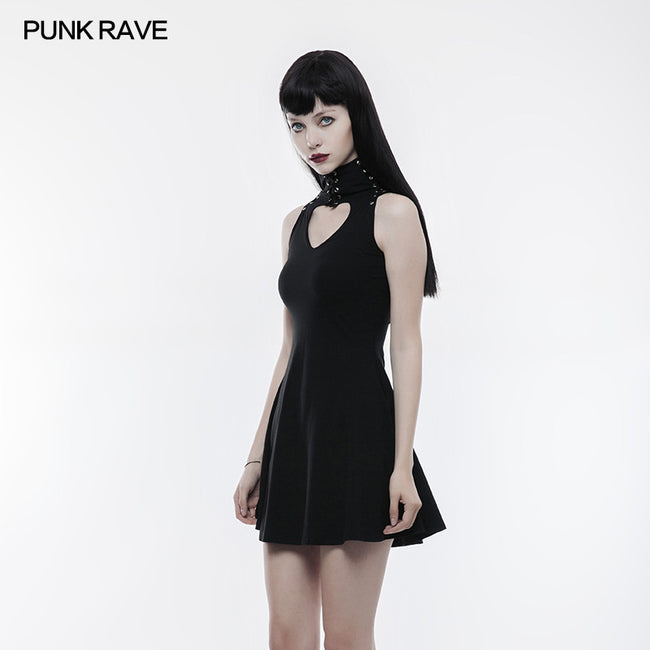 Sweet Hollow Out Heart Shape Slimming Gothic Dress With Strap Design