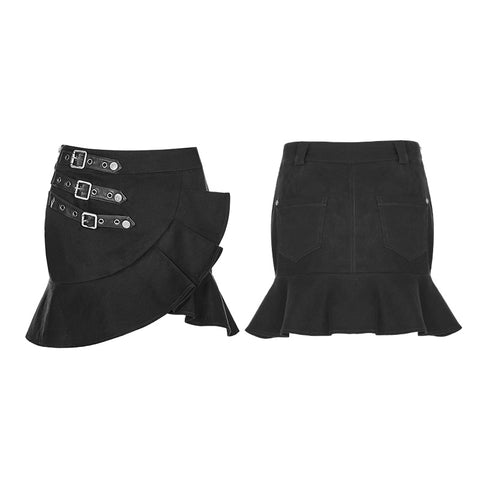 Irregular Elastic Lotus Leaf Hem Short Punk Skirt For Women