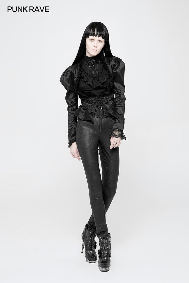 Women High Waist Stretch Jacquard Tight Gothic Pants