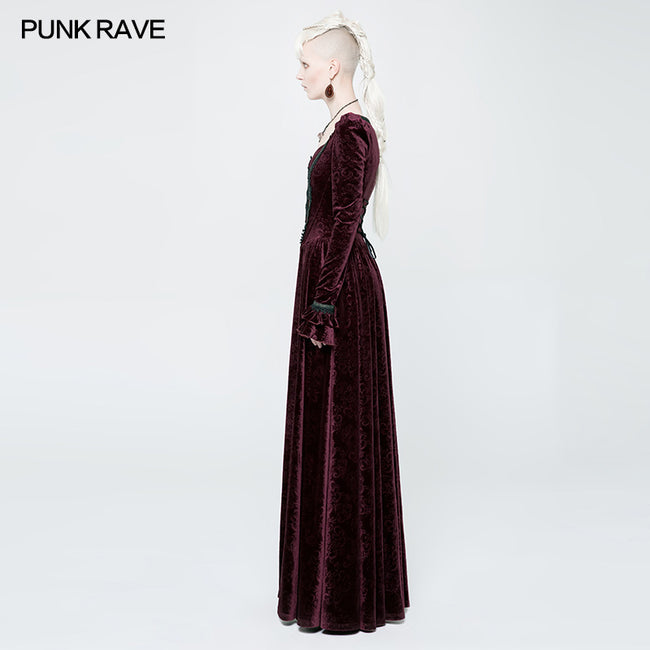 Victorian Stretch Dark Embossing Solid Color Velvet Gothic Dress