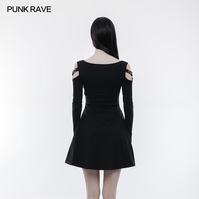 Women Knitting Slim Punk Dress With Leather Loop Design