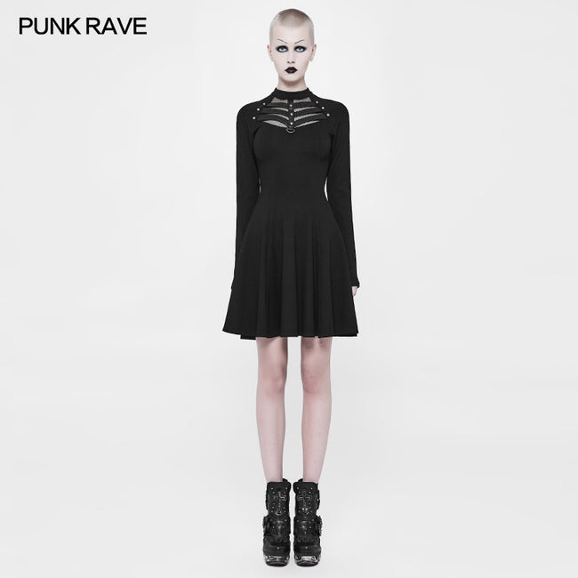 Daily High Elastic Knitted Punk Dress For Women