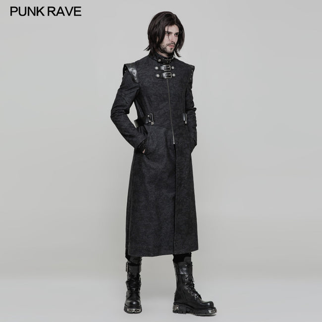 Personality Printing Leather Spliced Punk Coat For Men & Women