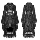 Stretch Jacquard Gothic Lolita Dress Flocking Printing Kimono With Lace