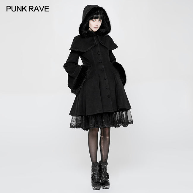Lolita Woolen Medium-length Swallow Tail Gothic Coat