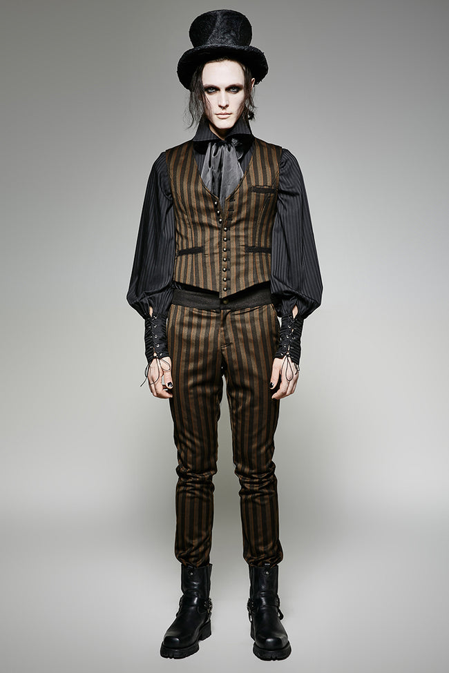 High Grade Suit Elegant Gothic Pants With Rugged Stripes