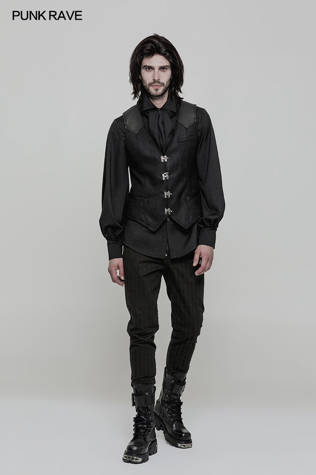 Steampunk Heavy Twilled Woven Breasted Waistcoat For Men