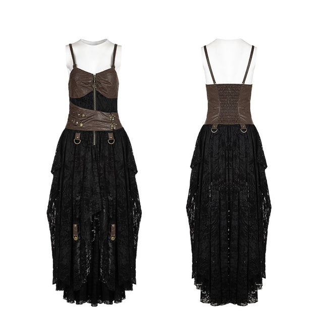 Steampunk Adjustable Four-Button Design Lace Dress For Women