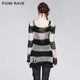 Horizontal Stripes Long Gothic Coat With Printing Pattern