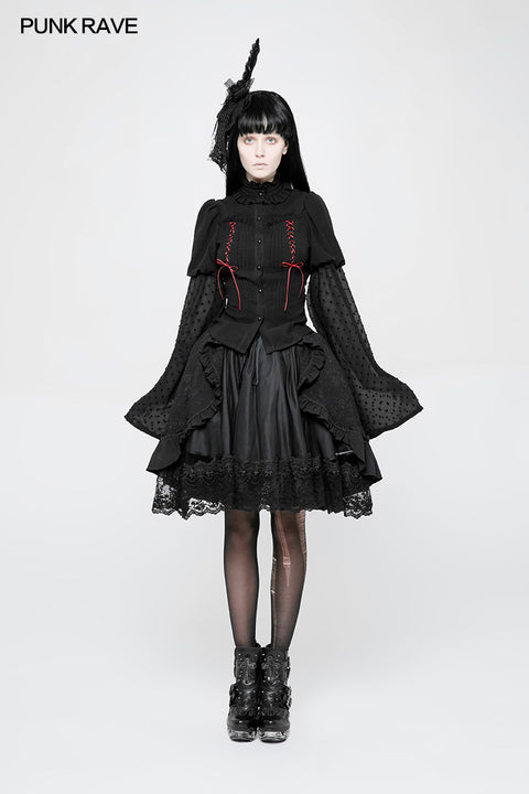 Kawaii Classic Lolita Trumpet Sleeve Gothic Shirt For Women