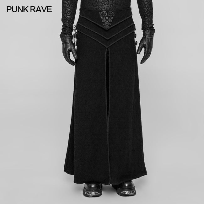 Retro Jacquard Embroidery Mens Gothic Skirt