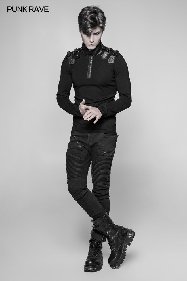 Men's Goth Elastic Knitted Uniform Long-sleeve T-shirt