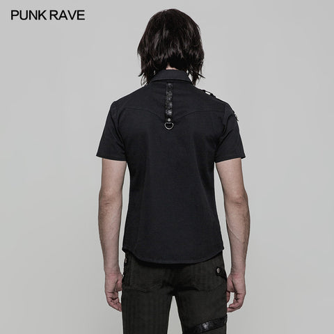 Personality Metal Buckle Design Punk Shirt For Men