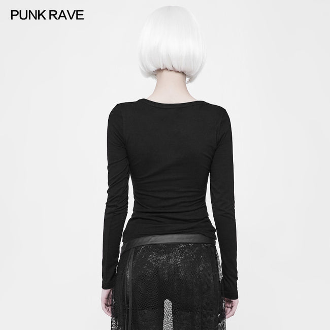 Punk Front Corn Wear Rope T-shirt For Women