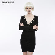 Sexy Deep V Punk Dress With Simplicity Corns And Pins Decoration