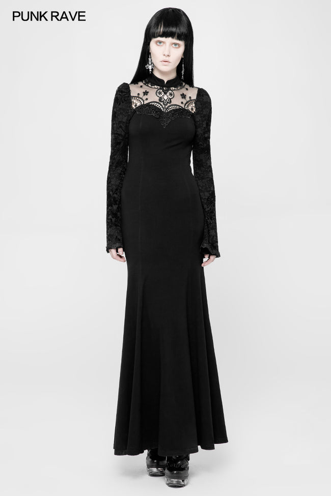 Exquisite Lace Knitted Gothic Dress With Front Semi-Transparent Stand Collar Design
