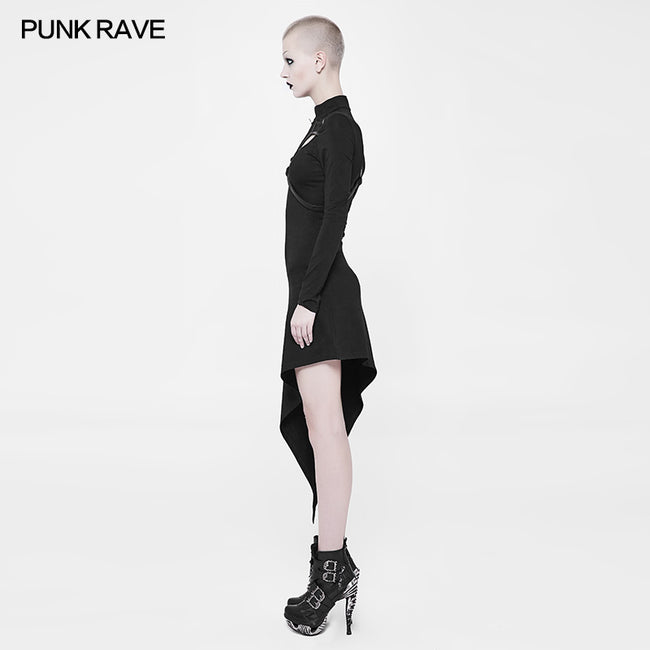 Asymmetrical Black Harness Design Knit Punk Dress
