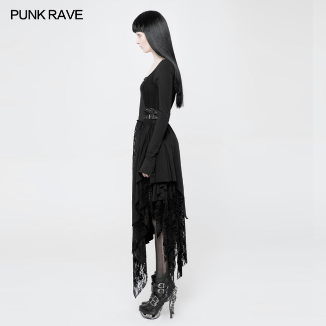 Punk Decadent Asymmetric Knitted Witch Dress With Lace