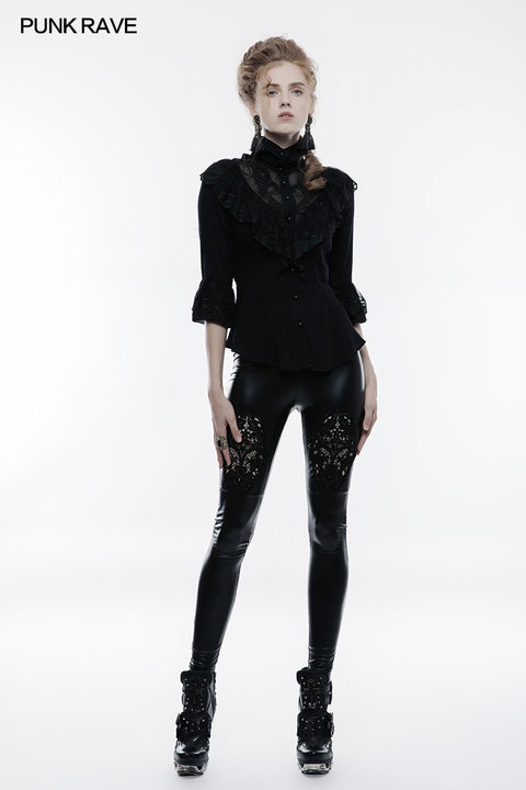 Stretch Glossy Leather Lace Positioning Flower Gothic Leggings