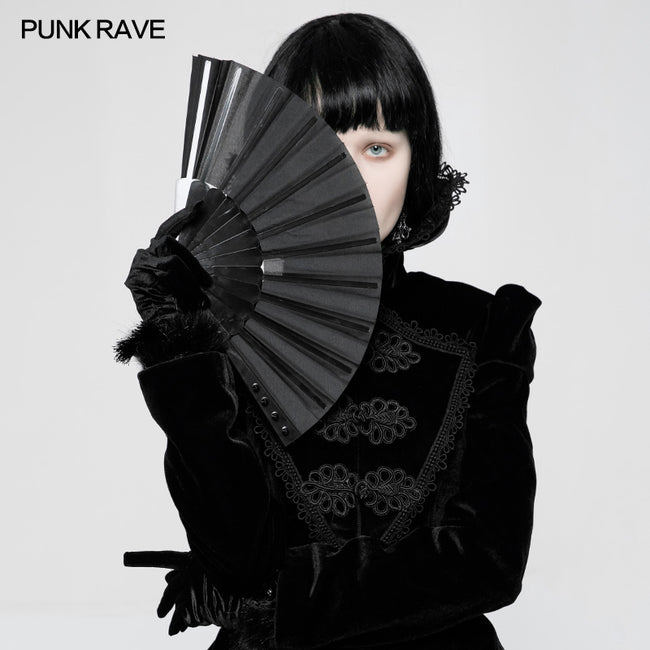 Black Rivet Handheld Fold Fan Punk Accessories