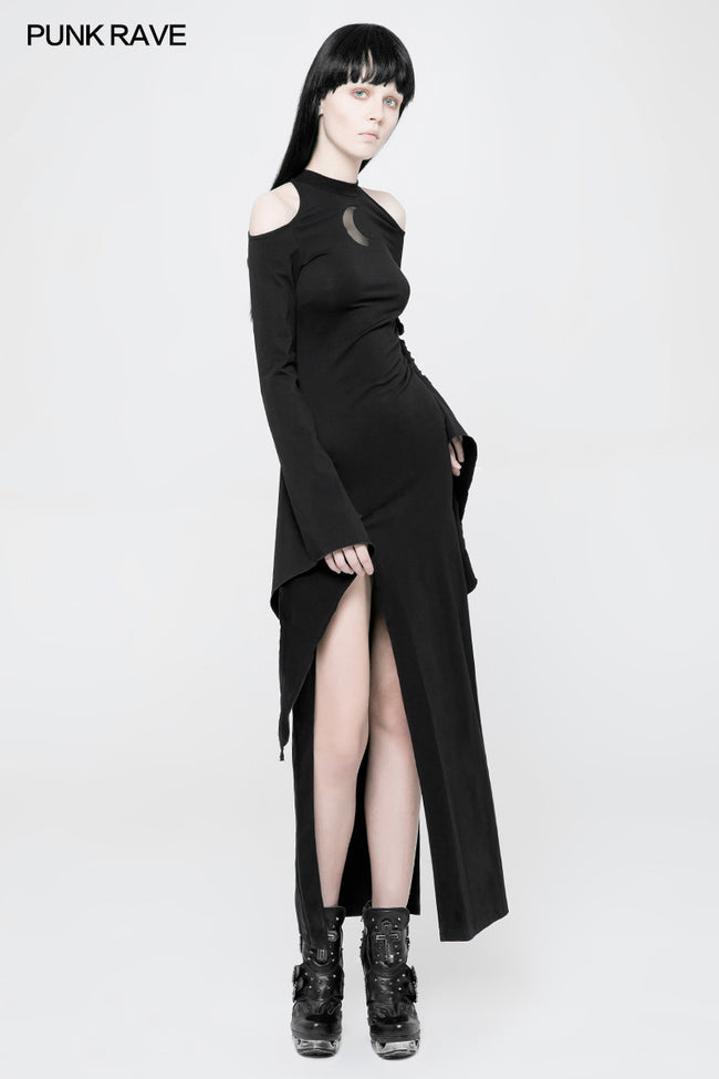 Women's Gothic Diablo Slit Dress With Hollow-Out Moon Pattern