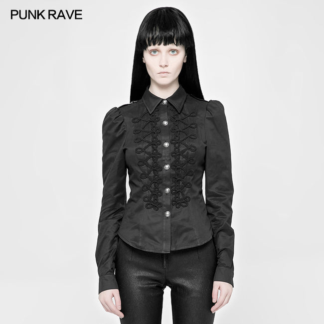 Vintage Military Uniform Punk Shirt For Women