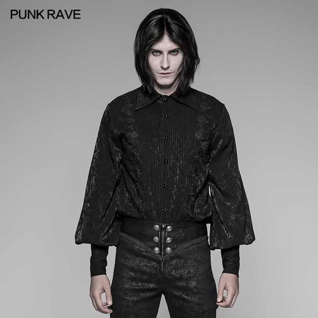 Men's Jacquard Pleated Front Gothic Shirt