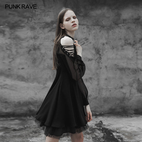 Strapless Chiffon Yarn V-collar Punk Dress For Women