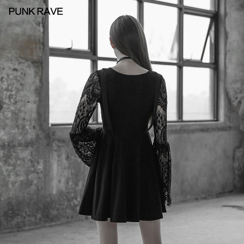 Women's Lace Sleeves Punk Dress With Straps Design