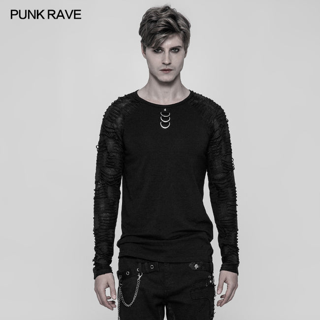 Men's Raglan Sleeve Knit Punk T-shirt