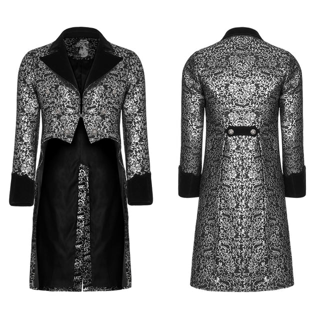 Gothic Metal Texture Jacquard Swallow Tail Coat Jacket