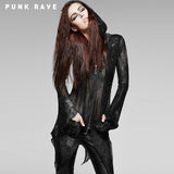 Black And Smoky Grey Translucent Long Sleeve Gothic Coat
