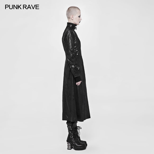 Punk Darkness Stand-Collar Leather Long Coat For Women