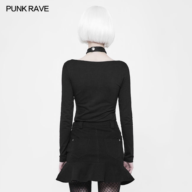 Women's Punk Knitted Long Sleeve T-shirt With Choker Design