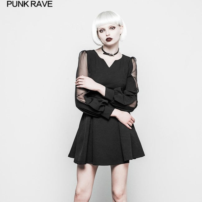 Gothic Feminine Chiffon Tulle Small V-neck Dress