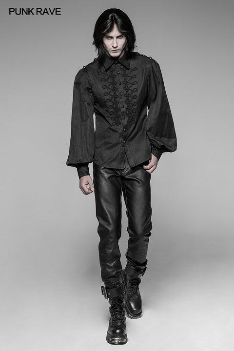 Men's Vintage Long Sleeves Gothic Shirt With Chinese Disa Floret Design