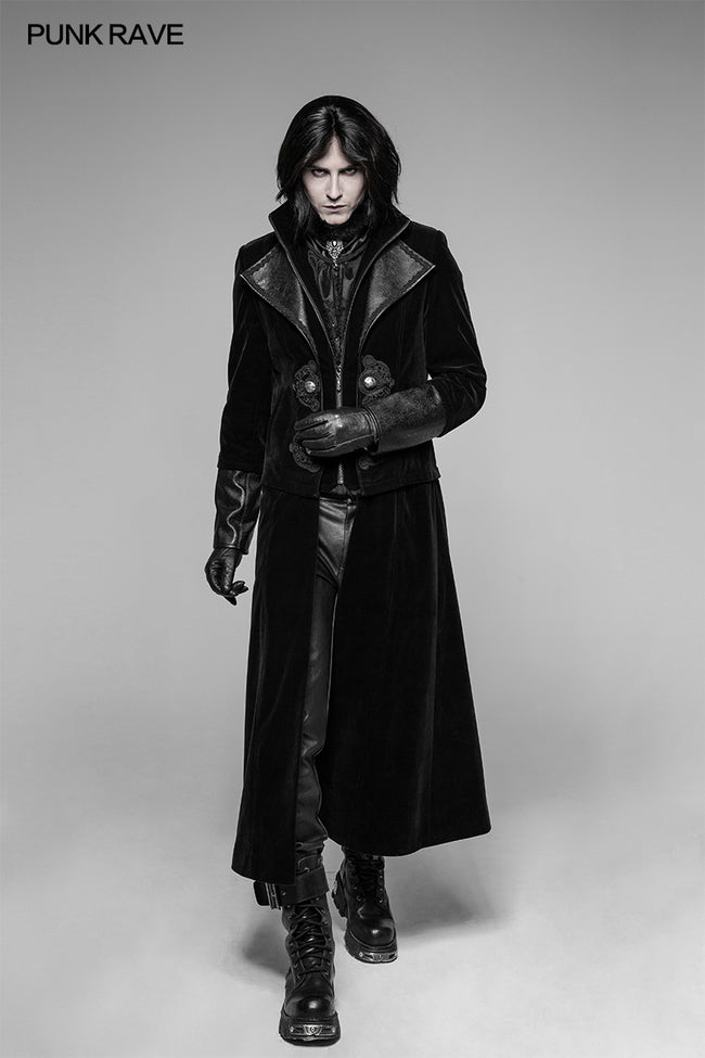 Gorgeous Velvet Long Punk Jacket Detachable Fake Two-Piece Coat For Men