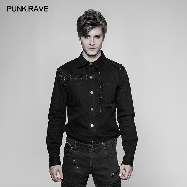 Men's Punk Tie Rope Personality Shirt With Double Pocket