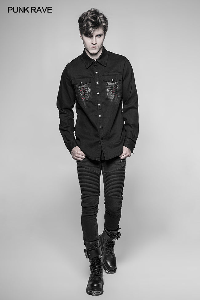 Paladin Gothic Bloody Keel Denim Personality Shirt With Scratched Double Pockets