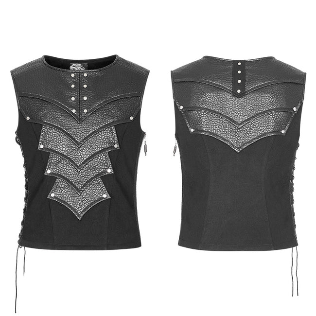 Punk Warrior Leather Stitching Personality Chest Protector Vest