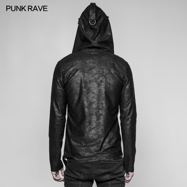Men's Dark Punk Personality Pullover Hoodie Beveled Zipper Hooded Knitting Sweater