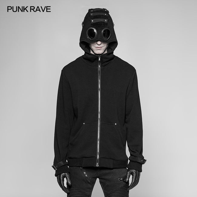 Punk Pilot Personality Hooded Jacket Cashmere Sweater Cardigan For Men