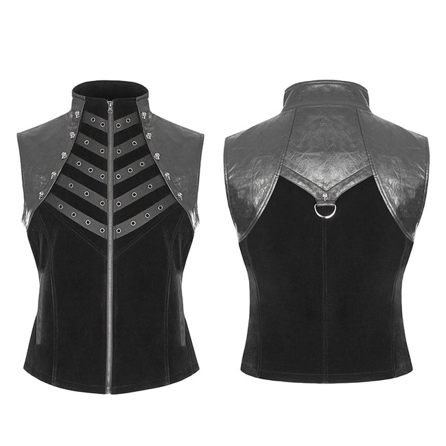 Royal Cavalry Force Punk Vest Velvet Leather Stand Collar Waistcoat For Men