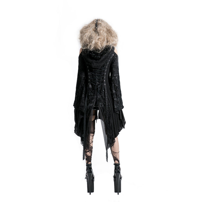 Punk Style Lace Gothic Black Long Sweater For Women