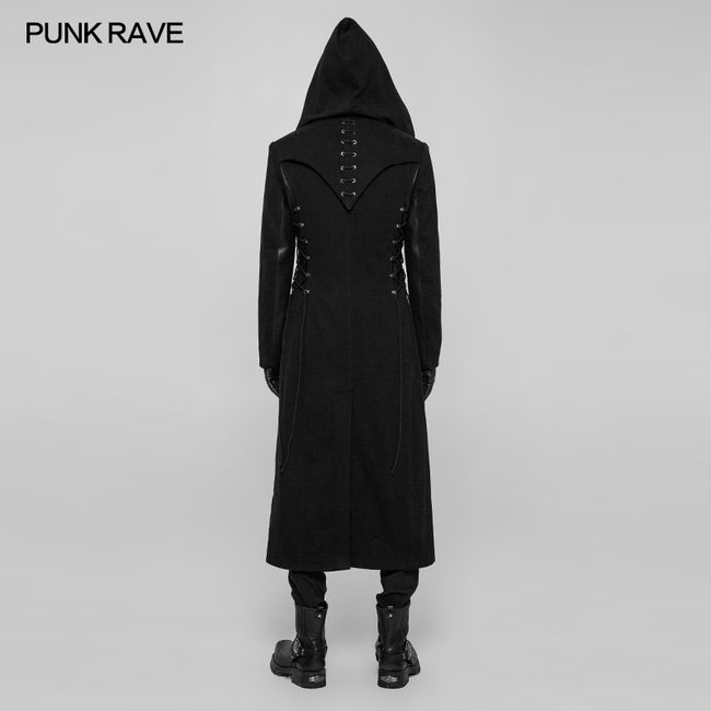 Gothic Dark Side Wear Rope Woolen Hooded Coat Long Jacket