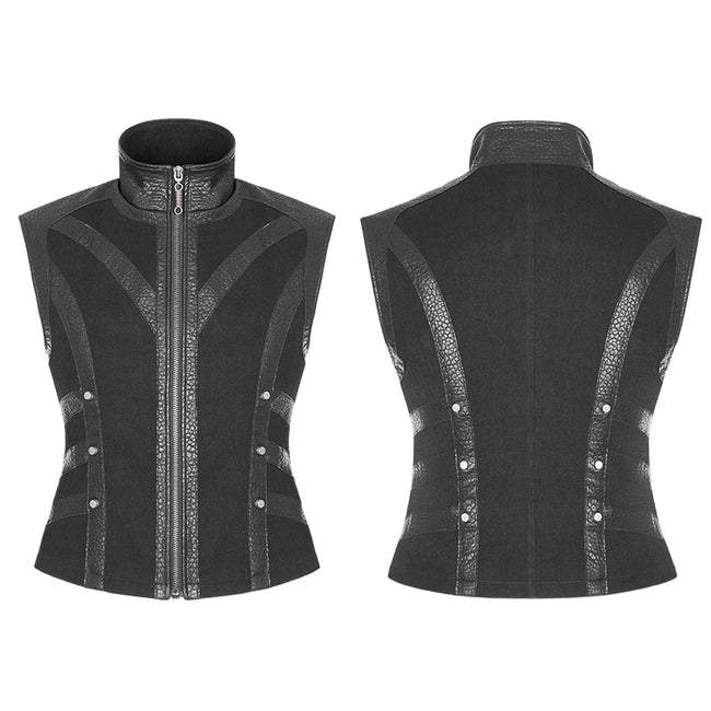Men's Rough Leather Splicing Stand Collar Punk Vest