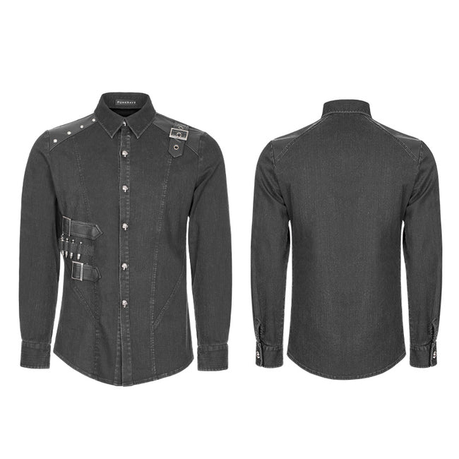 Punk Uniform Style Fitted Denim Shirt For Men