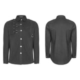 Men's Punk Pure Cotton Personality Shirt With Mosaic Rivet Decoration